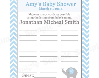 24 Personalized Baby Shower Name Game  - Elephant