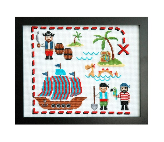 Cute pirates cross stitch pattern instant by tinymodernist