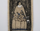 RESERVED -  the first and the last blue flowers - a larger embroidery artwork