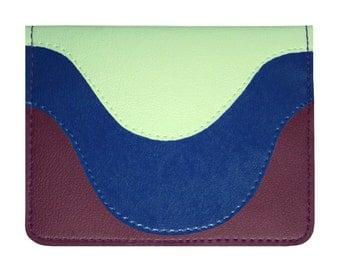Plum Royal Seafoam Curves Vinyl / Cotton Wallet