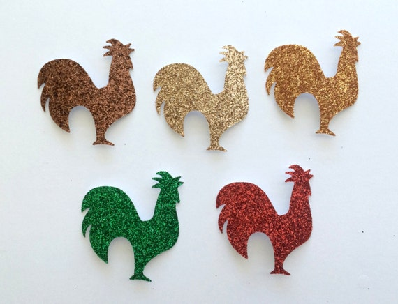 Rooster Hen Chicken Glitter Die Cut Stickers - Brown Gold Orange Green Red - Farm Animal Theme - Scrapbook Greeting Card Art Craft Collage