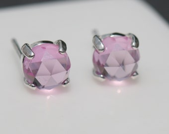 Pink Sapphire Earrings, Lab Grown Sapphire Earrings , Pink Post Earrings, Pink Stud Earrings, Sterling Silver Earrings Maggie McMane Designs