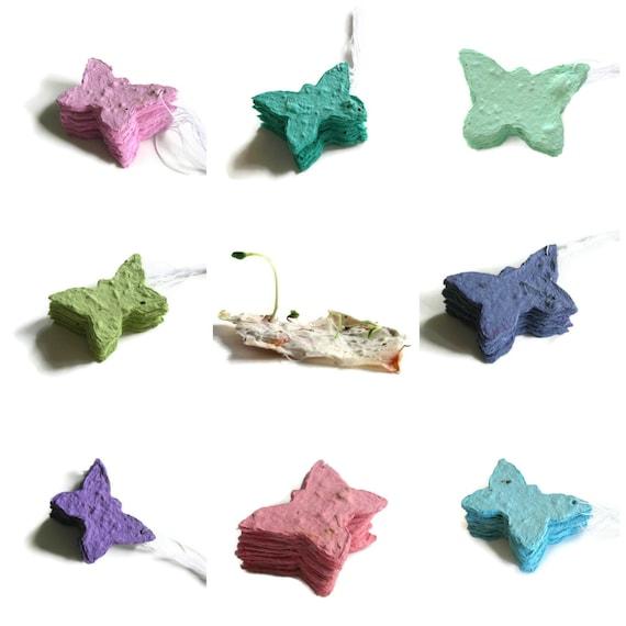 Plantable paper butterfly - Wedding favor - DEPOSIT on CUSTOM order of butterflies made of handmade paper & flower seeds - Wedding placecard