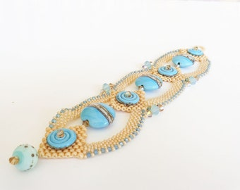 Cream and Aqua Beadweaving Bracelet