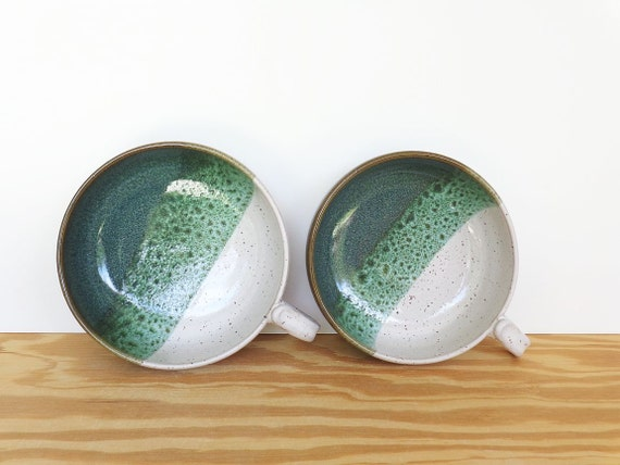 Sea Mist and White One Handle Stoneware soup Bowls - Set of 2