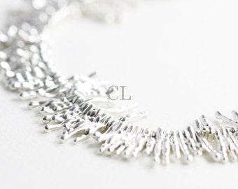 Oxidized Silver Textured Fringe Statement Necklace (N84)