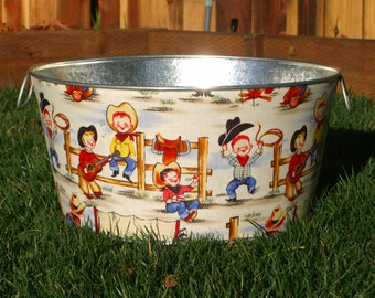 Childrens Photo Prop Large Round Galvanized Party Tub Lil Cowpokes