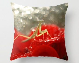 Mantis In The Red Praying Mantis Pillow Natural History Pillow Nature Red Green Mantis Flower Image