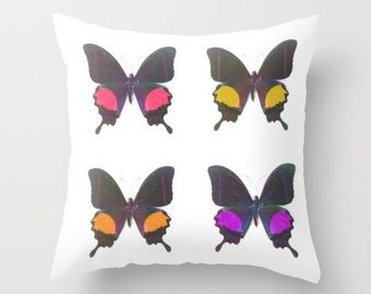Butterfly Pillow Cover Insect Pillow Entomology Decor Forest Life Woodland Bokeh Butterflies Pillow Cover