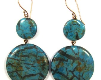 Polymer Clay Earrings - Fabulous Faux Collection - Turquoise Mod Earrings
