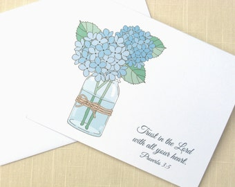 Christian Stationery - Mason Jar With Flowers - Set of 25 - Hydrangea Note Cards