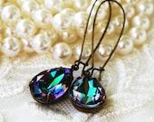 BUY one GET one RARE Purple Teal Swarovski Crystal Teardrop Earrings, Bridesmaid Gift