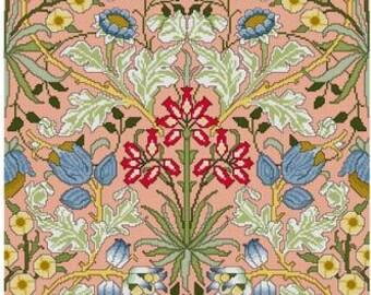 William Morris Hyacinth Wallpaper design Cross stitch pattern PDF