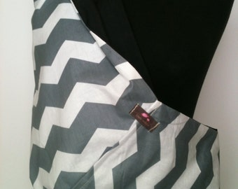 Baby Sling  Baby Carrier - Gray Chevron with Black  Lining