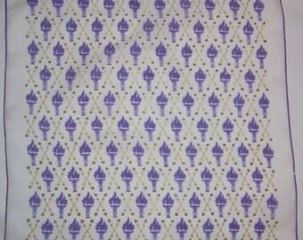 Vintage Purple Torch Handkerchief -  Hanky Hankie
