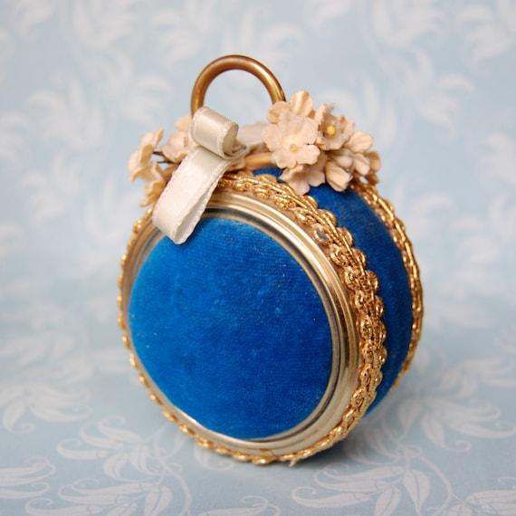 Vintage Pin Cushion 1960s Blue Velvet