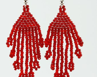 Handmade Toho Seed Beads Transparent Ruby Beaded Earrings