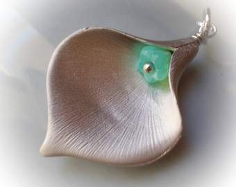 Calla Lily Flower Necklace Silver large flower pendant charm on chain 925 sterling silver with little seafoam mint sea foam modern flower