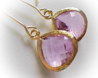 Amethyst drop long glass earrings lavender elegant rose cut faceted extra long fancy dangle drop earrings for women rosecut baroque marquise
