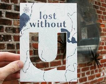 letterpress lost without u map card