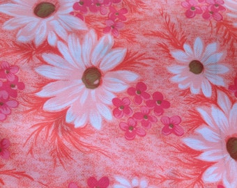 1 2/3 Yards of Vintage Orange and Pink Stretch Knit Fabric with White Daisies (Daisy)