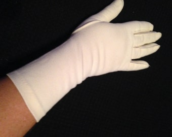 Pair of Vintage Ladies' Ivory Nylon Gloves