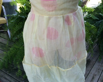 Vintage Butter Yellow Organdy Sheer Half Apron