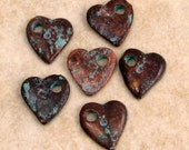 Green Patina Small Heart Charm, 10 mm, 6 Pieces, M285