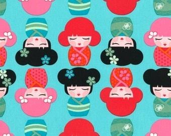 1 yard HELLO TOKYO Aqua Fabric by Robert Kaufman