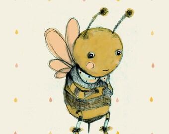 Children's Wall Art, Bee love, Print, 8x11
