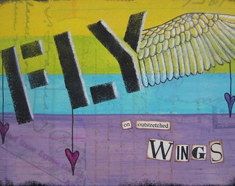fly - 5 x 7 MIXED MEDIA ORIGINAL by Nancy Lefko