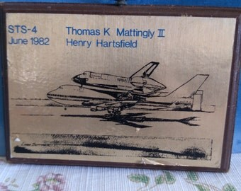 Memorial Plaque from STS-4 Thomas K. Mattingly II and Henry Hartsfield June 1982
