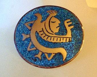 Vintage TAXCO Brooch - Aztec Mayan Warrior Head-Snake-Huge Mid-Century Modernist - Eagle 1 Mark - Turquoise Silver - Tribal Lizard Design