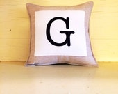 MONOGRAM linen pillow decoration. initial pillow. personalized custom letter of your choice. you choose your quantity.