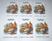 Vintage Playing Cards with Surfer Palm Trees Hula Girl Pineapple Advertising Hawaii for Delta Air Lines Set of 6