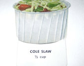 Vintage Food or Nutrition Die Cut Cardboard School Decoration of Cole Slaw in Container