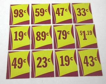 Vintage Rexall Drug Store Pricing Sale Tags Yellow and Maroon Set of 12
