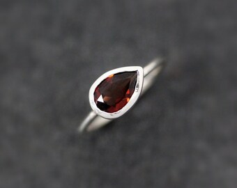 Sideswept Red Garnet Gemstone Ring, Size 8 Ready To Ship