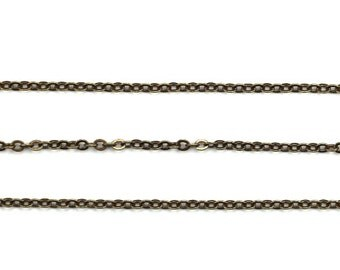 Fine Cable Chain Flat Soldered Brass Ox Nickel Free Lead Free (1 Foot) CH117