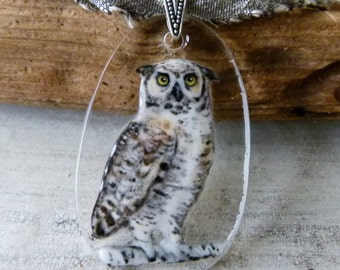 Horned Owl  necklace - fused glass pendant