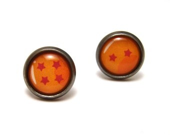Dragon Ball Z Studs - Tiny yellow dragon balls with red stars post earrings SMALL - Geekery Geek Chic Gamer
