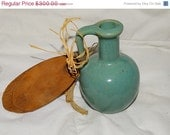"""10% OFF TODAY Rare Art Souvenir Teal Pottery Mini Jug, Watts Bar Village, This is a """"Jug for Honey from the Smoky Mountains"""" Sweet Hand made"""