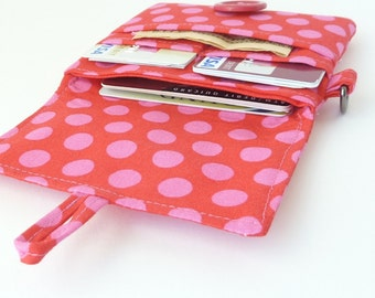 slim woman wallet. small little card organizer. red pink polka dot fabric cotton pocketbook case. teen girl gift. cloth material for her