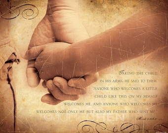 Adoption Gift - Scripture Art - Welcome Child - Mark 9 - Foster Care Worker Gift of Appreciation - Orphanage Decor - Bible Photo Art