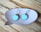 Bright Blue Dangle Earrings, Robins Egg Blue Drop Earrings, Copper Enamel Jewelry, Nickel Free Kidney Earwires, Handmade Earrings
