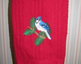 Red Terrycloth Towel with Blue Jay Embroidery