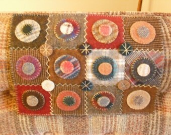 Primitive Hand Stitched Penny Rug- Candle Mat- Made with vintage wool