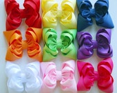 boutique set of RAINBOW PLUS double layered hair bow clips