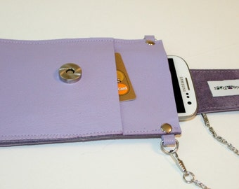 Recycled Medium Purple Leather Cross Body Cell Phone Carrier Bag Sak Pouch