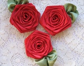Handmade Ribbon Roses 3 XL Victorian in  Red